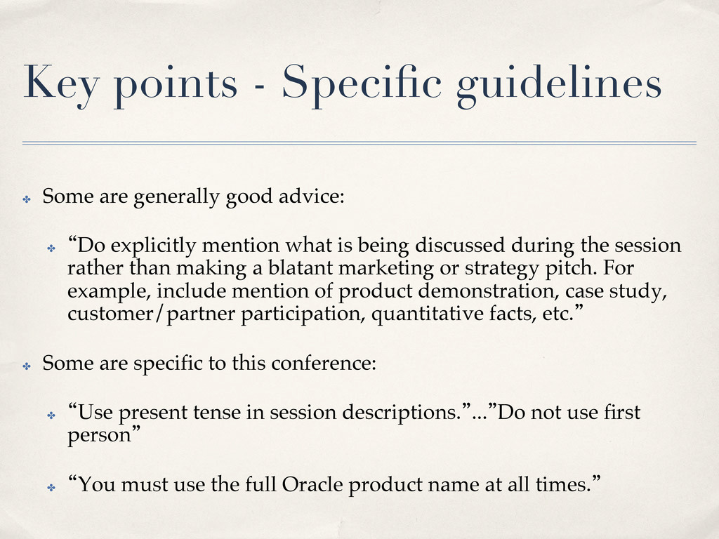 Key points - Specific guidelines