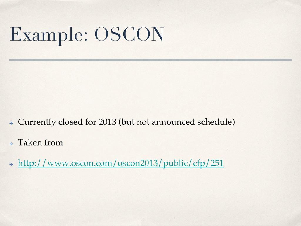 Example: OSCON