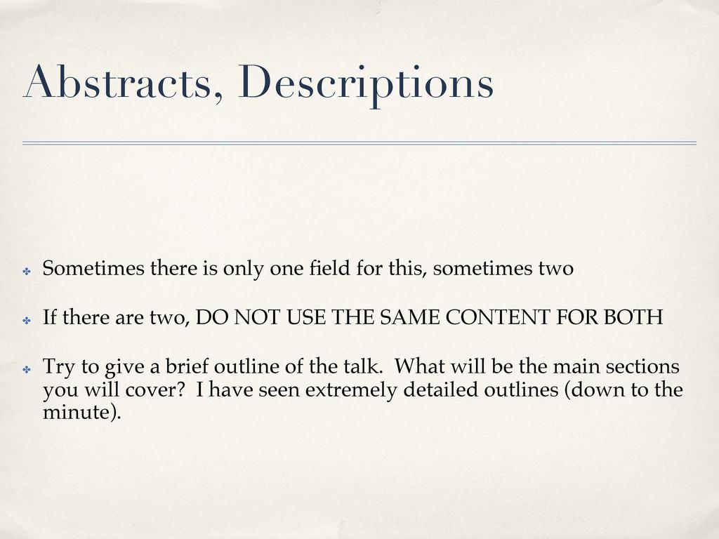 Abstracts, Descriptions