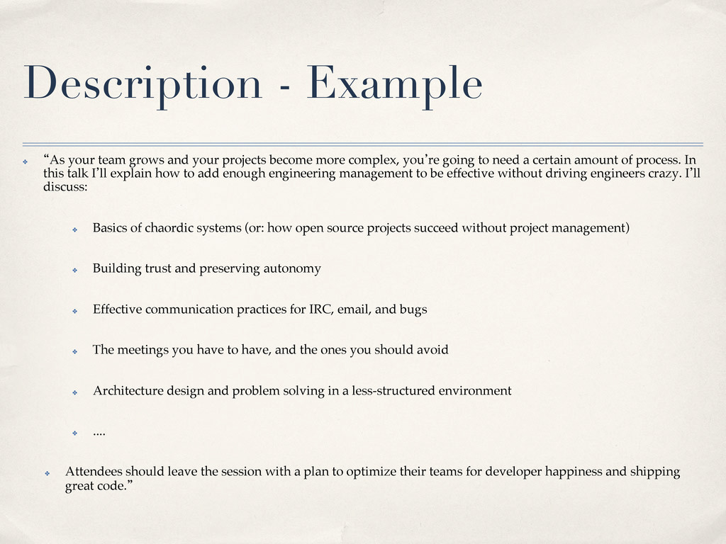 Description - Example