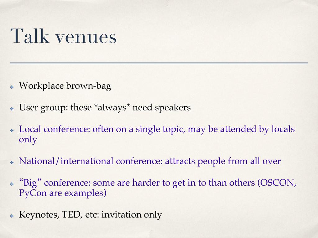 Talk venues