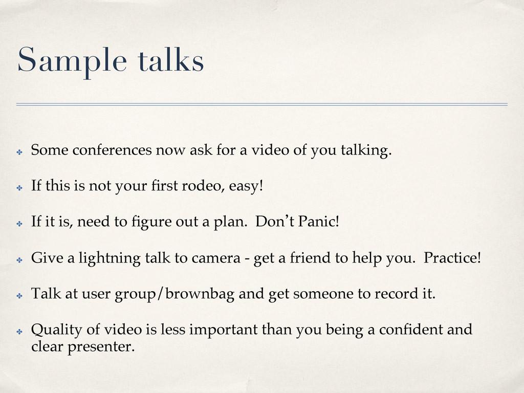 Sample talks