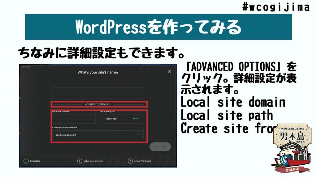 WordPressを作ってみる ちなみに詳細設定もできます。 「ADVANCEDOPTION...