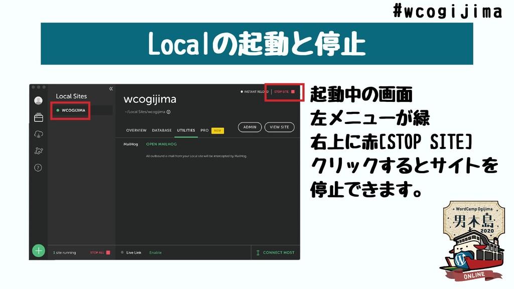 Localの起動と停⽌ 起動中の画⾯ 左メニューが緑 右上に⾚[STOPSITE] クリック...