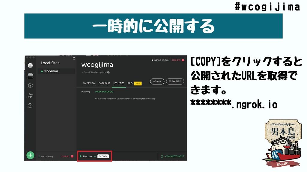 ⼀時的に公開する [COPY]をクリックすると 公開されたURLを取得で きます。 *****...