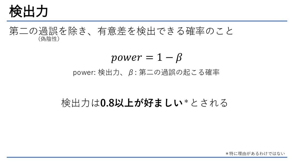 検出力 第二の過誤を除き、有意差を検出できる確率のこと (偽陰性) 𝑝𝑜𝑤𝑒𝑟 = 1 − 𝛽...
