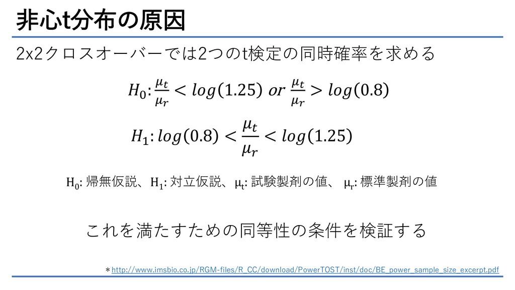 非心t分布の原因 2x2クロスオーバーでは2つのt検定の同時確率を求める 𝐻0 : 𝜇𝑡 𝜇𝑟...