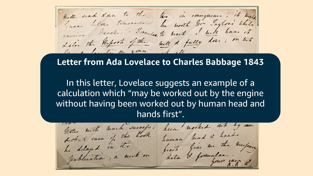 Letter from Ada Lovelace to Charles Babbage 184...