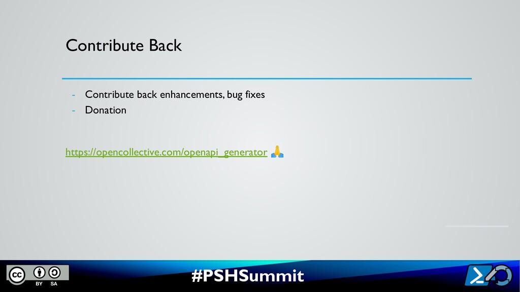 #PSHSummit Contribute Back - Contribute back en...