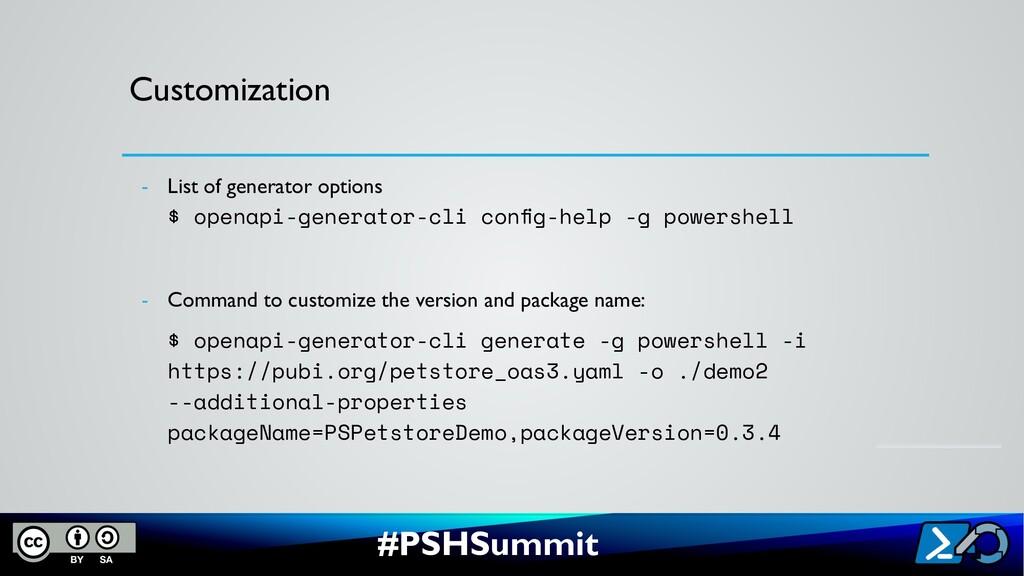 #PSHSummit Customization - List of generator op...