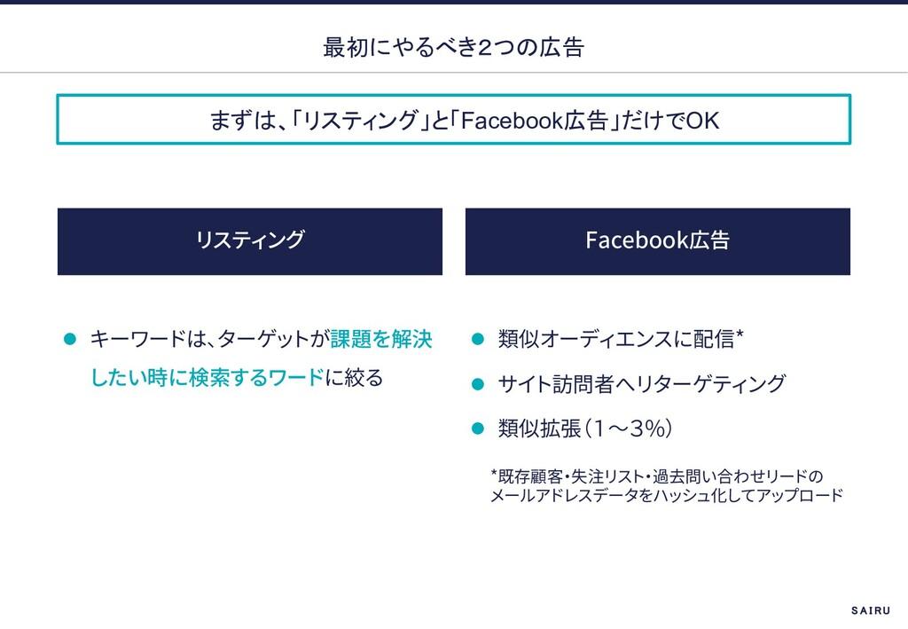 まずは、「リスティング」と「Facebook広告」だけでOK 最初にやるべき2つの広告 Fac...