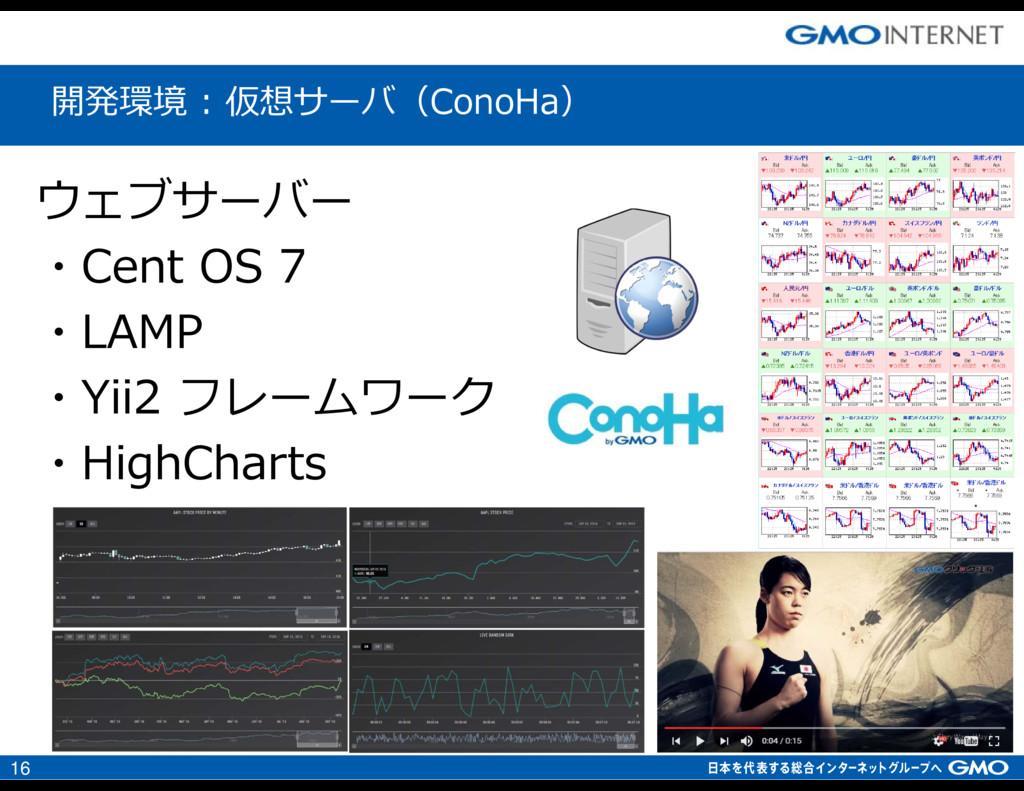 16 ウェブサーバー ・Cent OS 7 ・LAMP ・Yii2 フレームワーク ・High...