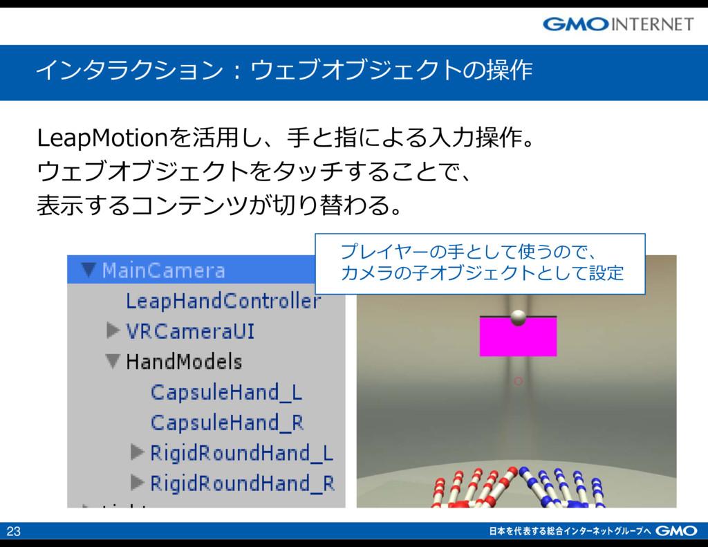 23 LeapMotionを活用し、手と指による入⼒操作。 ウェブオブジェクトをタッチすること...