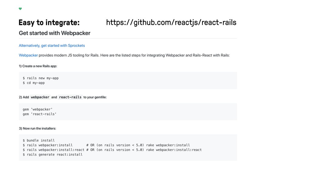 Easy to integrate: https://github.com/reactjs/r...