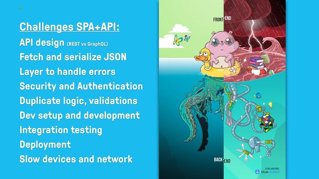 Challenges SPA+API: API design (REST vs GraphQL...