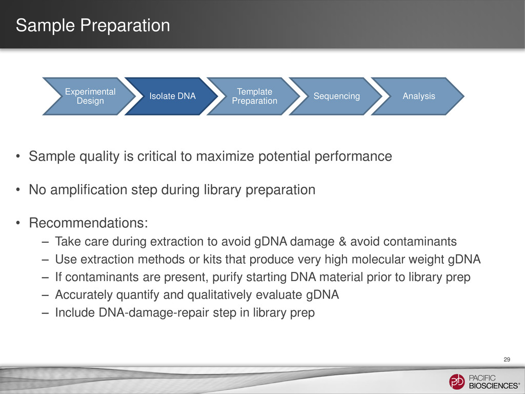 Sample Preparation • Sample quality is critical...
