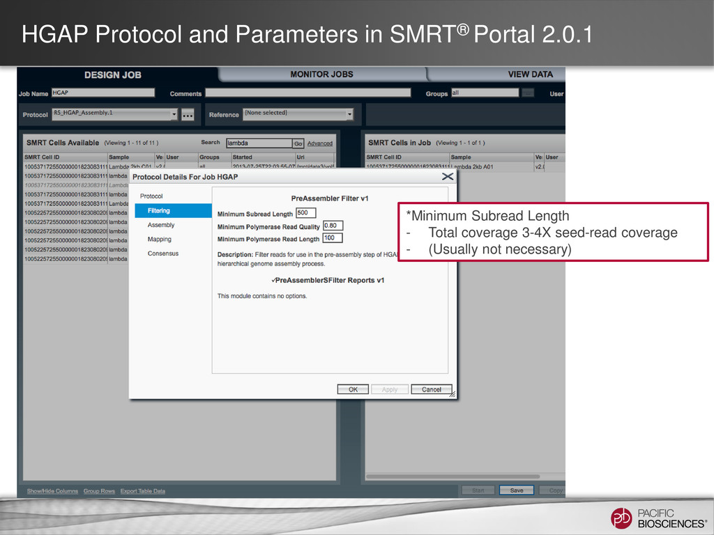 HGAP Protocol and Parameters in SMRT® Portal 2....