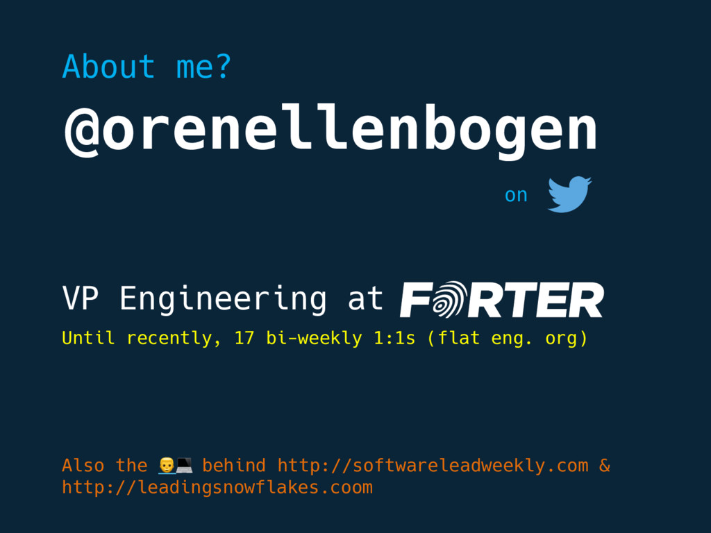 @orenellenbogen VP Engineering at on Also the  ...