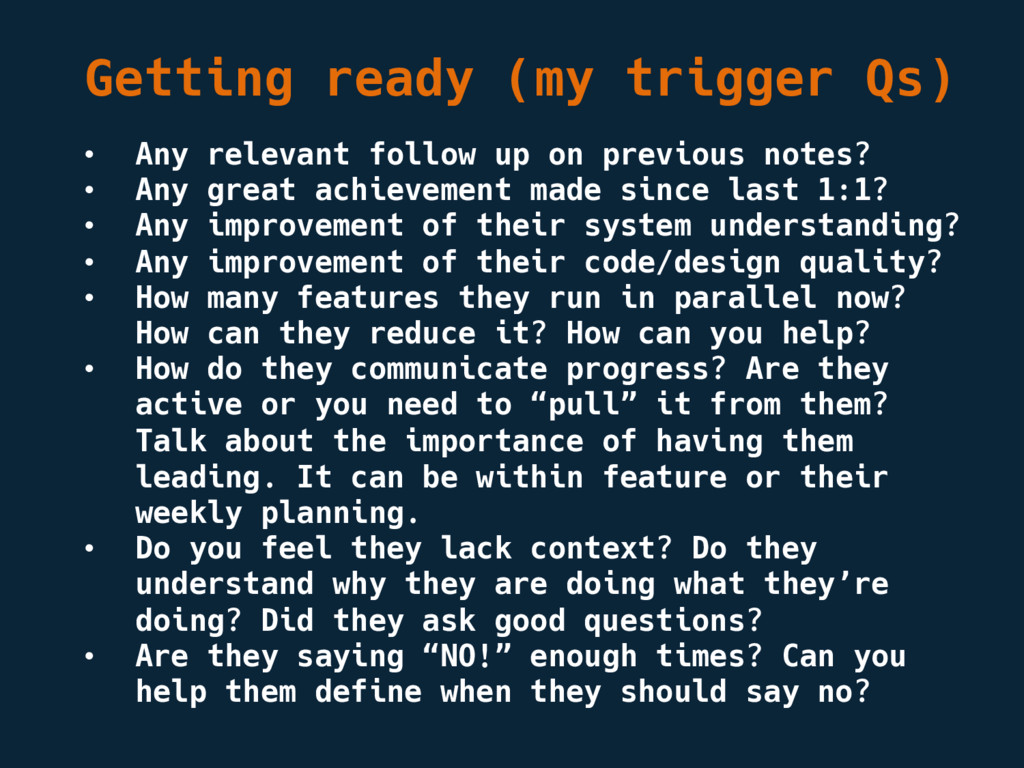 Getting ready (my trigger Qs) • Any relevant fo...