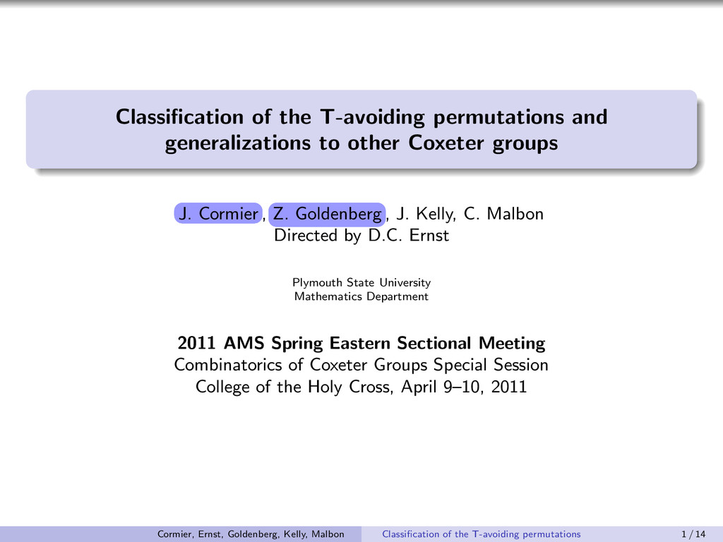 Classification of the T-avoiding permutations an...