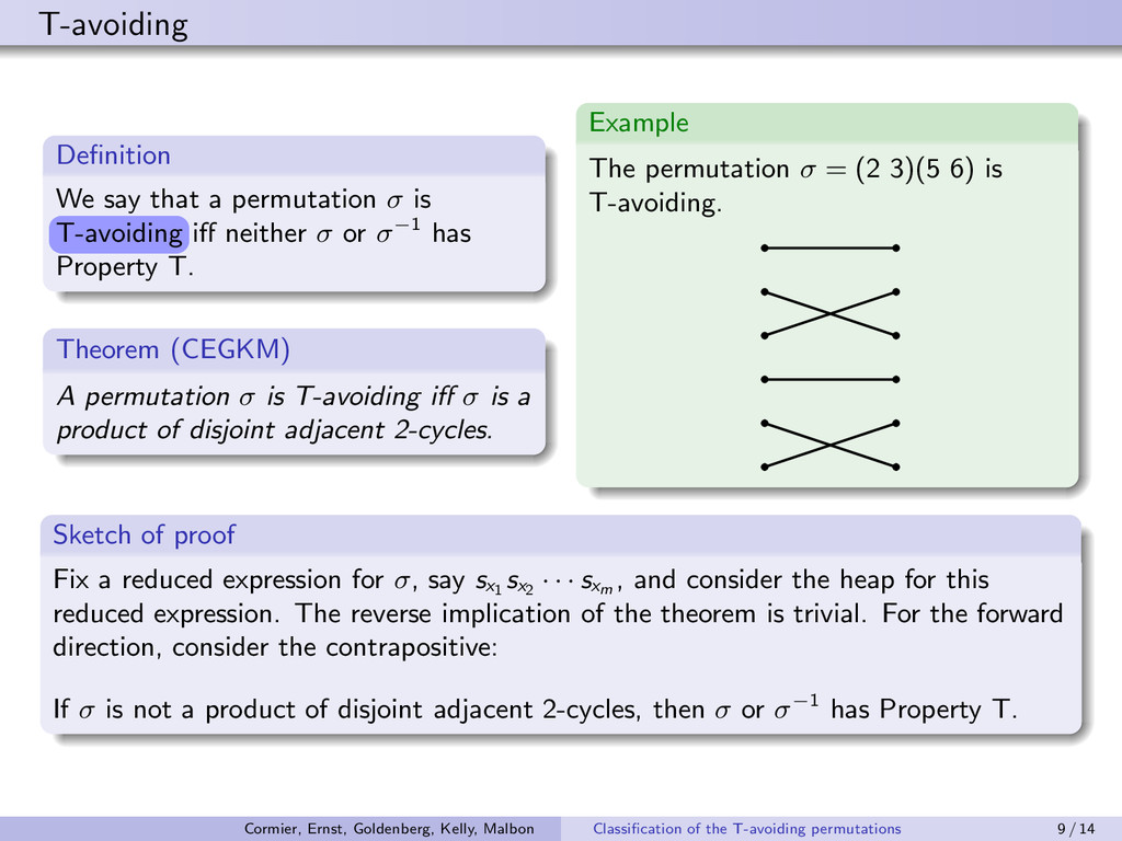 T-avoiding Definition We say that a permutation ...