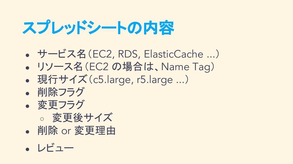 スプレッドシートの内容 ● サービス名(EC2, RDS, ElasticCache ...)...