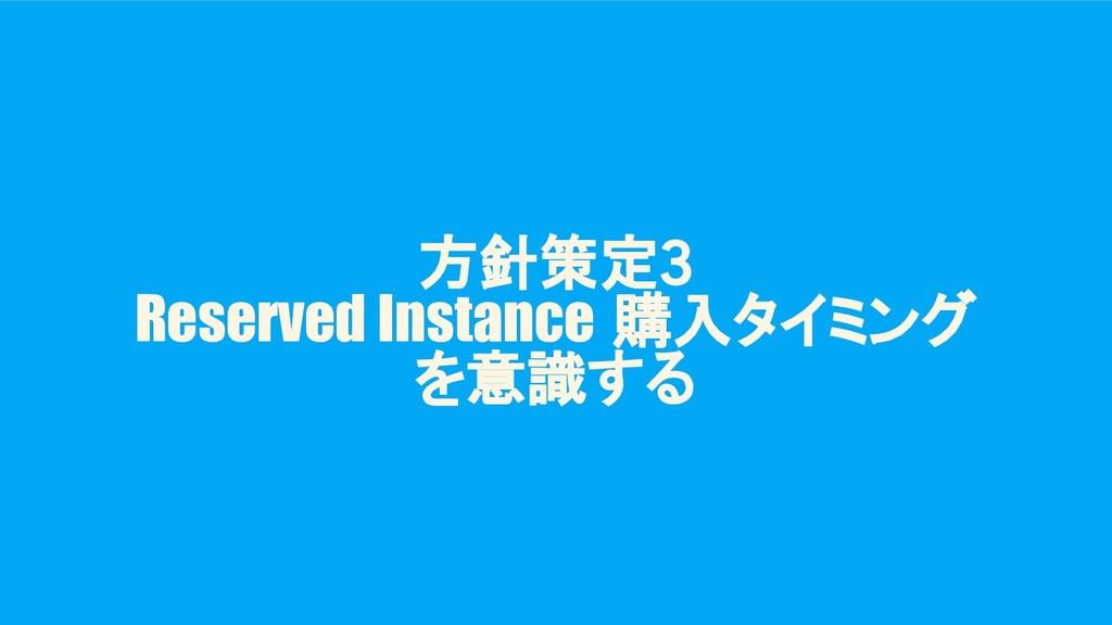 方針策定3 Reserved Instance 購入タイミング を意識する