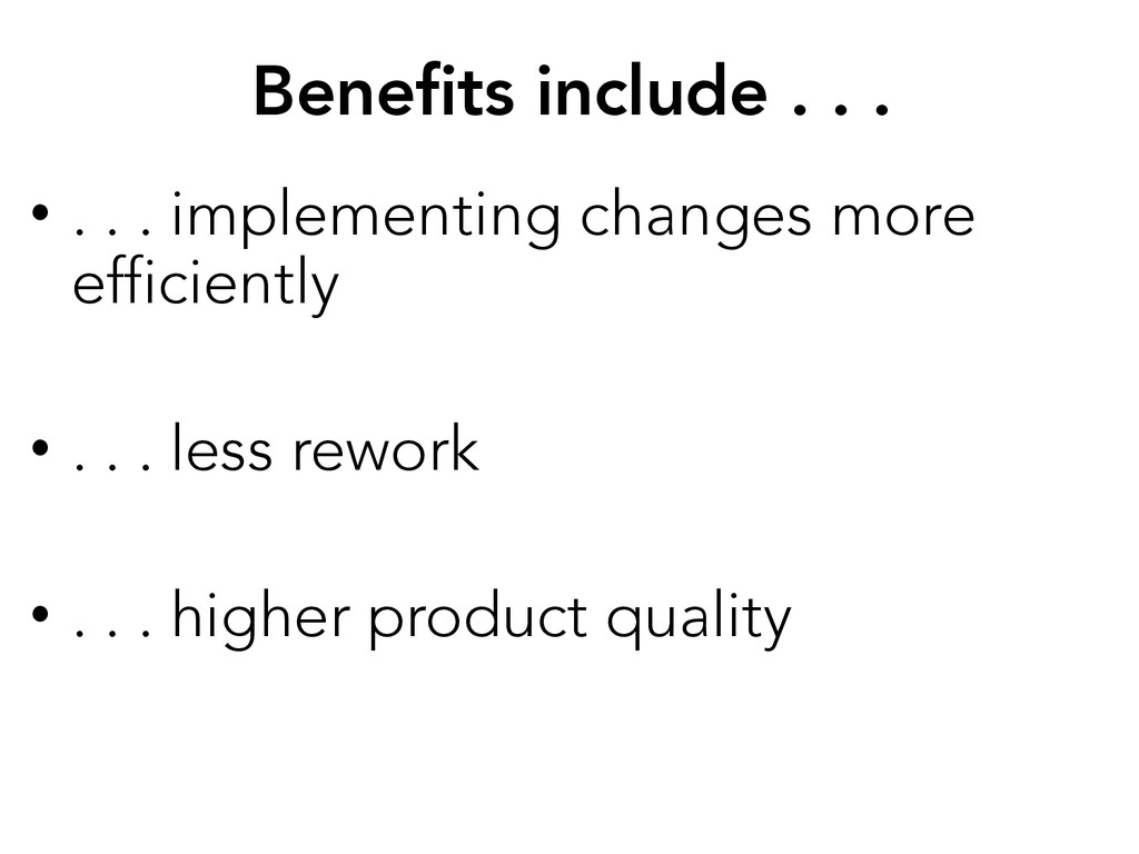 Benefits include . . .  • . . . implementing c...