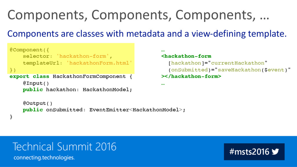 Components are classes with metadata and a view...
