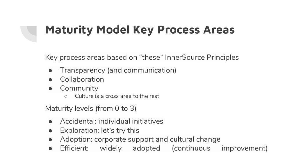 Maturity Model Key Process Areas Key process ar...