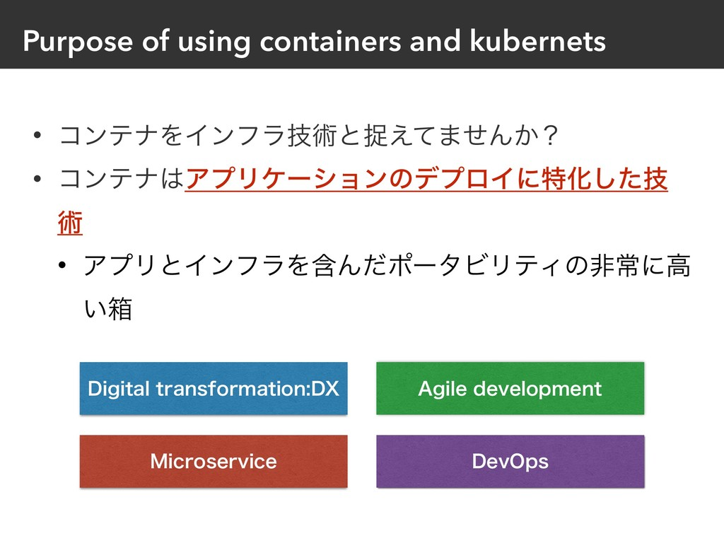 Purpose of using containers and kubernets • ίϯς...