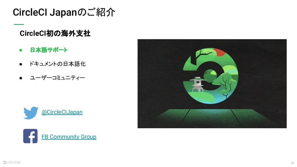 15 CircleCI Japanのご紹介 ● 日本語サポート ● ドキュメントの日本語化 ●...