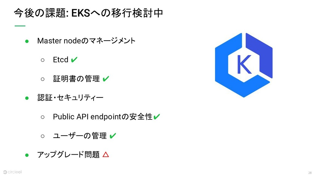 28 今後の課題: EKSへの移行検討中 ● Master nodeのマネージメント ○ Et...