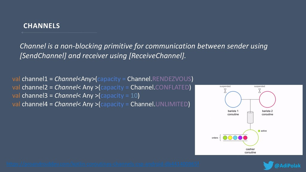 CHANNELS @AdiPolak val channel1 = Channel<Any>(...