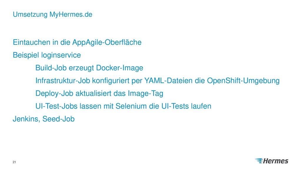 Umsetzung MyHermes.de 21 Eintauchen in die AppA...