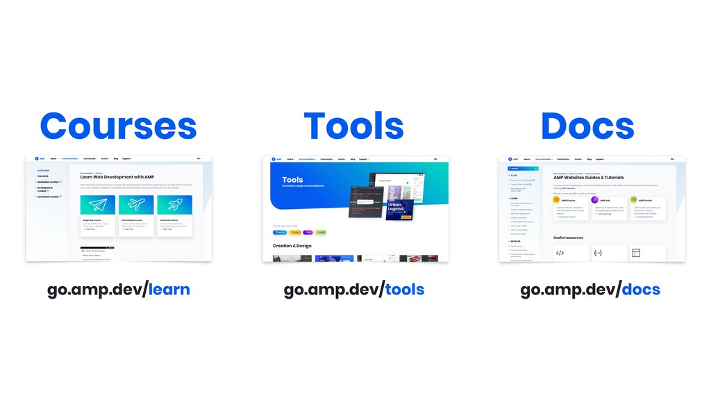 go.amp.dev/learn Courses go.amp.dev/tools Tools...