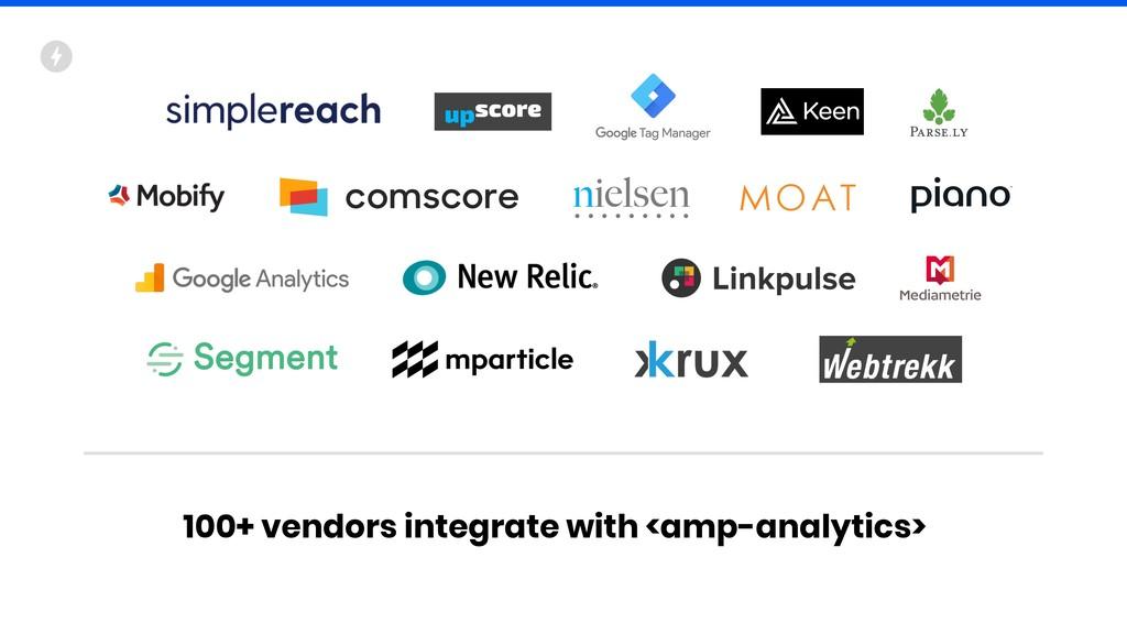 100+ vendors integrate with <amp-analytics>