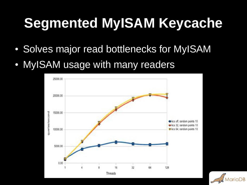 Segmented MyISAM Keycache ● Solves major read b...