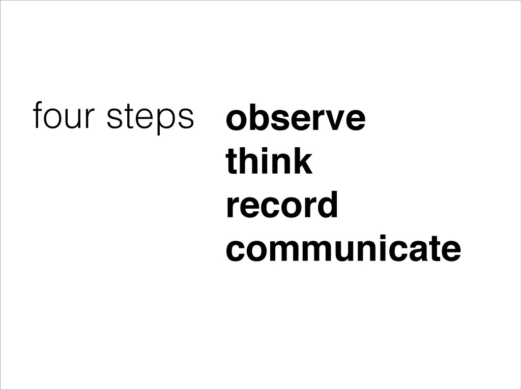 four steps observe! think! record! communicate