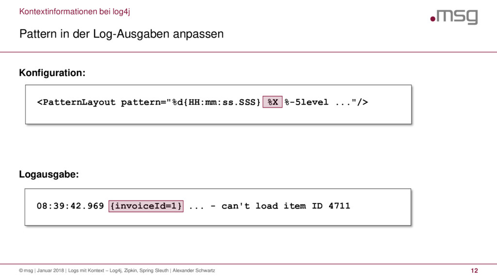Kontextinformationen bei log4j Pattern in der L...
