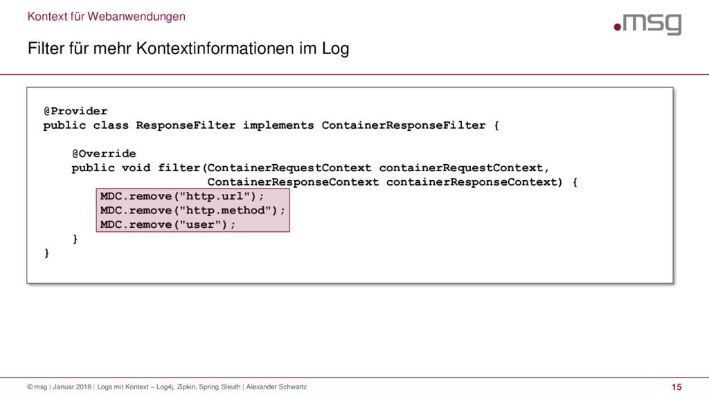 Kontext für Webanwendungen Filter für mehr Kont...