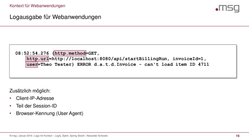Kontext für Webanwendungen Logausgabe für Weban...