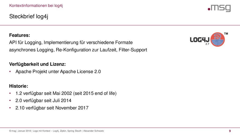 Kontextinformationen bei log4j Steckbrief log4j...