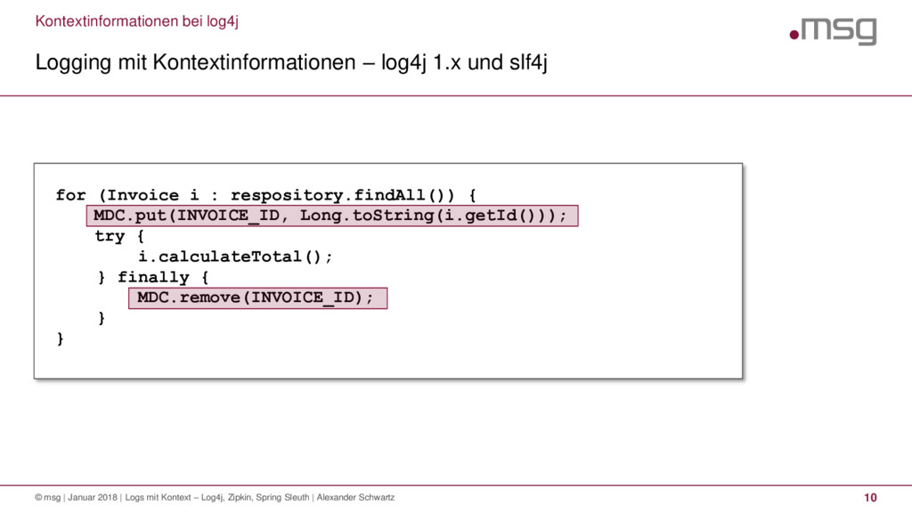 Kontextinformationen bei log4j Logging mit Kont...