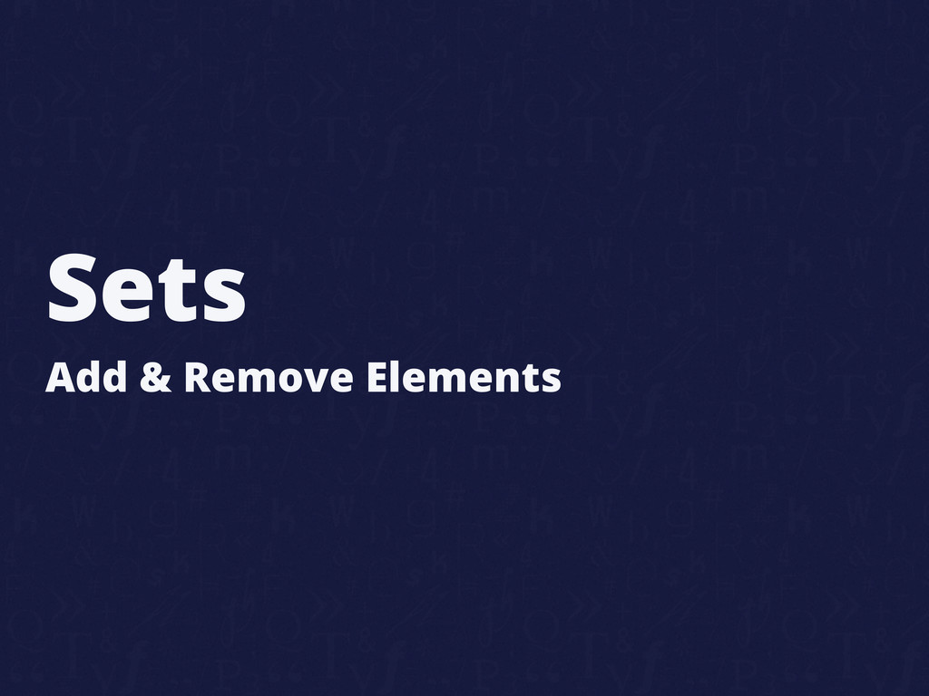 Sets Add & Remove Elements