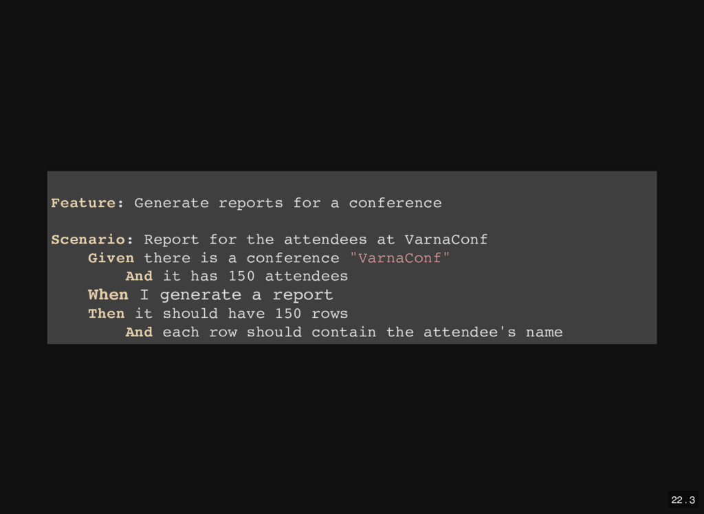 Feature: Generate reports for a conference Scen...