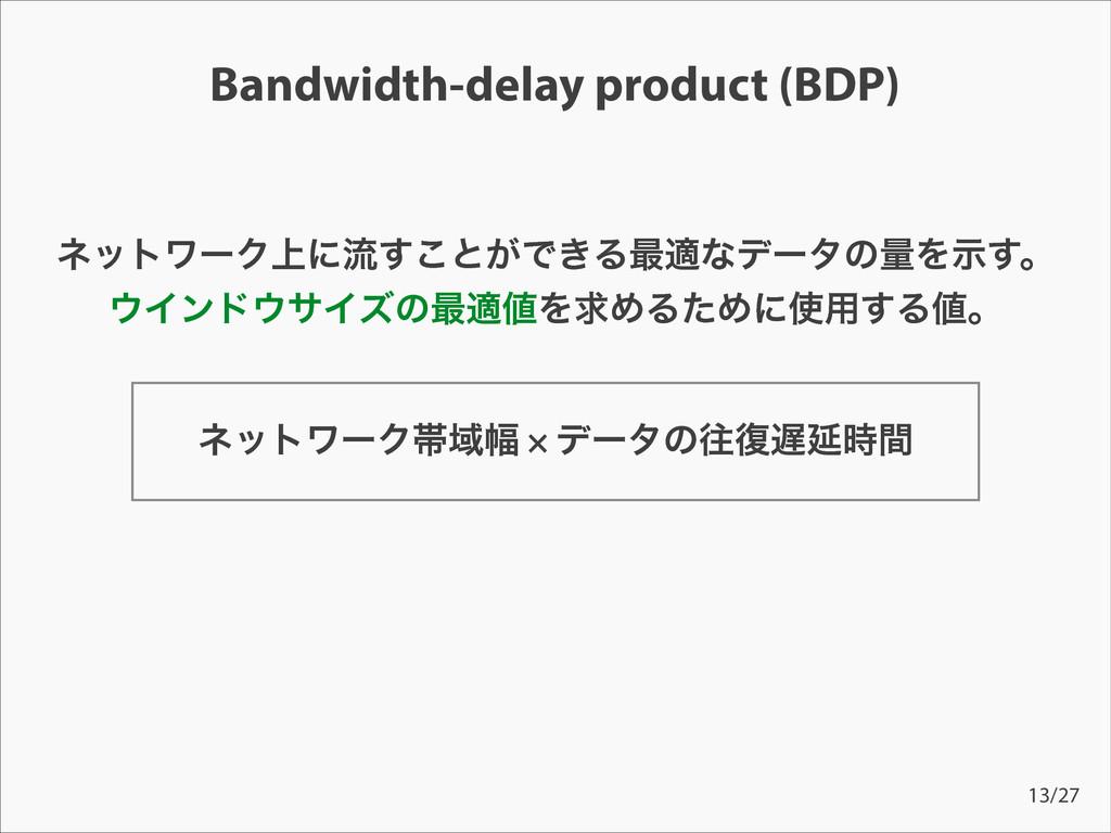 Bandwidth-delay product (BDP) ωοτϫʔΫଳҬ෯ × σʔλͷԟ...