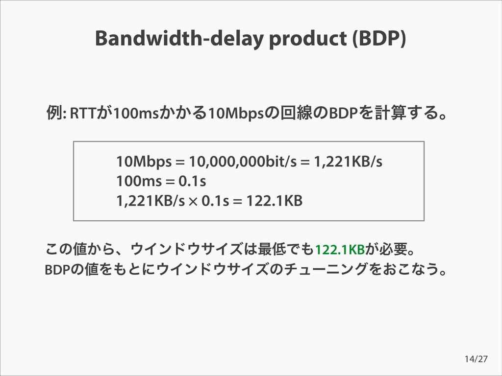 Bandwidth-delay product (BDP) ྫ: RTT͕100ms͔͔Δ10...