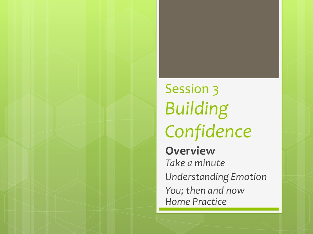 Session 3 Building Confidence Overview Take a m...