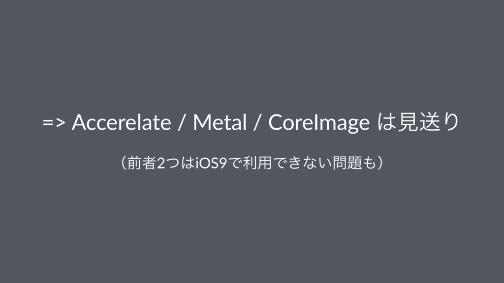 => Accerelate / Metal / CoreImage ͸ݟૹΓ ʢલऀ2ͭ͸iO...